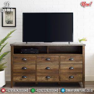 Harga Bufet TV Minimalis Natural Jati Best Quality Kayu TPK Perhutani TTJ-0975