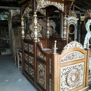 Harga Mimbar Kayu Jati Jepara Desain Kubah Natural Klasik Luxury TTJ-0882