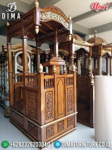 Harga Mimbar Masjid Kubah, Mimbar Khotbah Jati Jepara Natural New Desain TTJ-0873