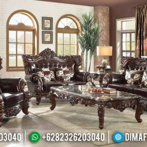 Harga Sofa Tamu Jati Barcelona Luxury Carving Best Seller Product TTJ-0936