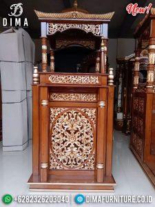 Harga murah mimbar masjid kubah kayu jati perhutani luxury carving natural TTJ-0885