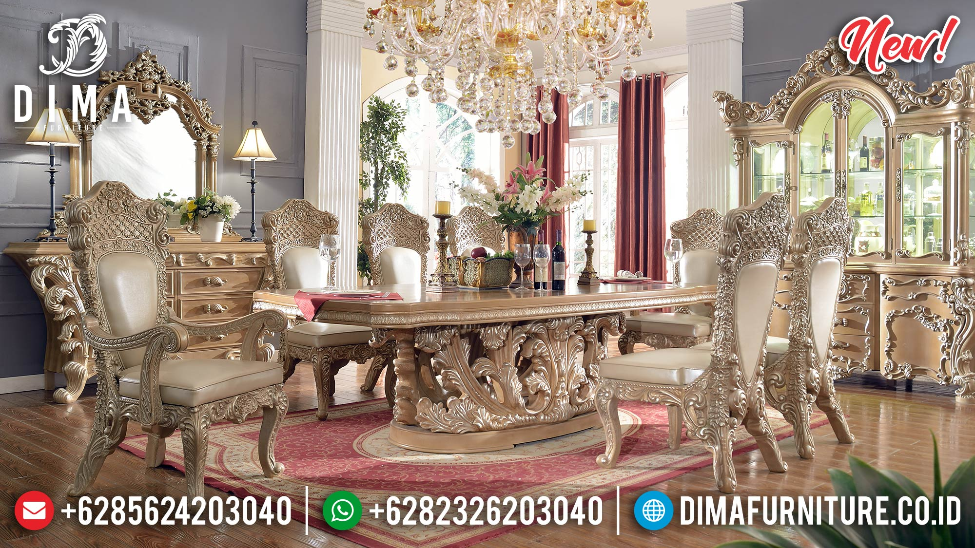 Jual Meja Makan Ukiran Mewah Furniture Luxury Jepara New Normal Release TTJ-0966