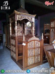 Jual Mimbar Masjid Jati Natural Kombinasi Emas Glossy Luxury Klasik TTJ-0888