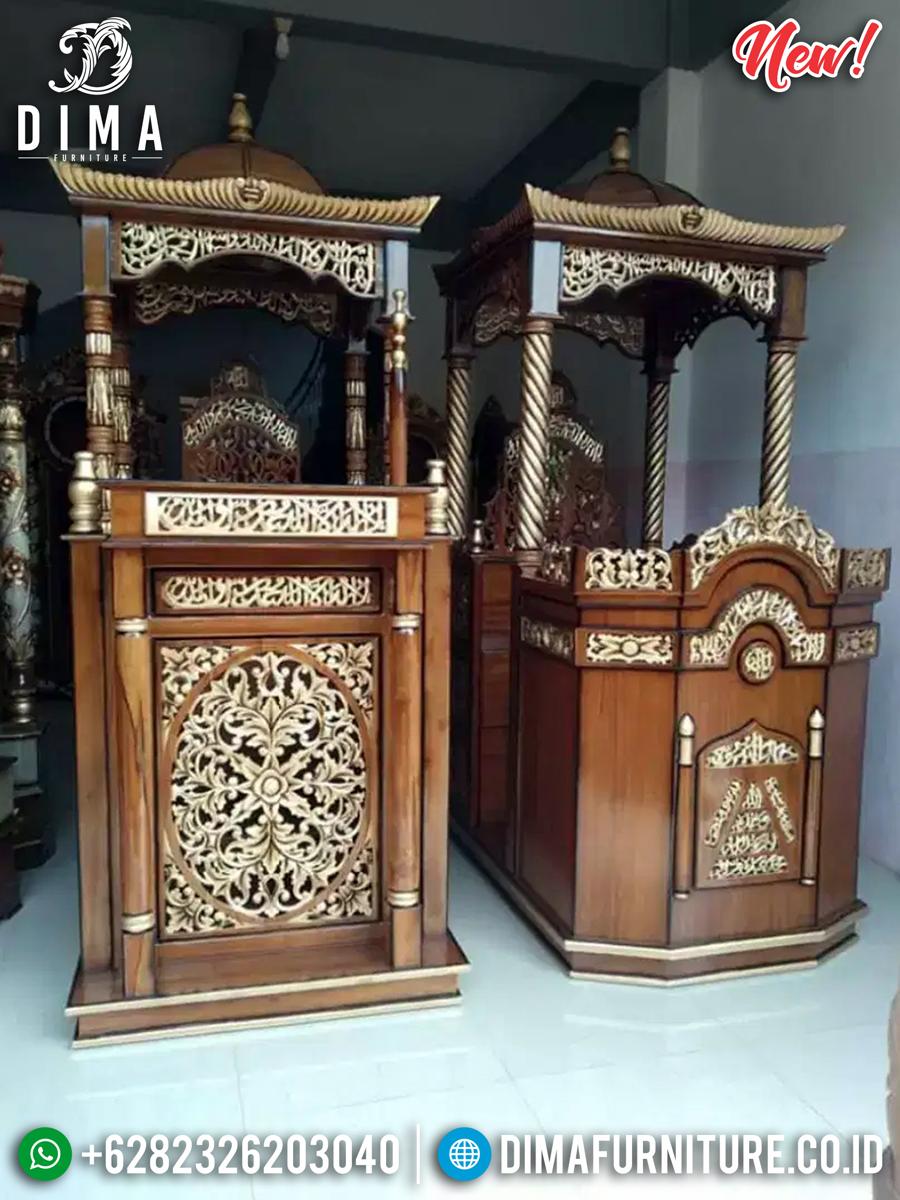 Jual Mimbar Masjid Kubah Jati Natural Harga Murah Best Seller TTJ-0866 Detail 1