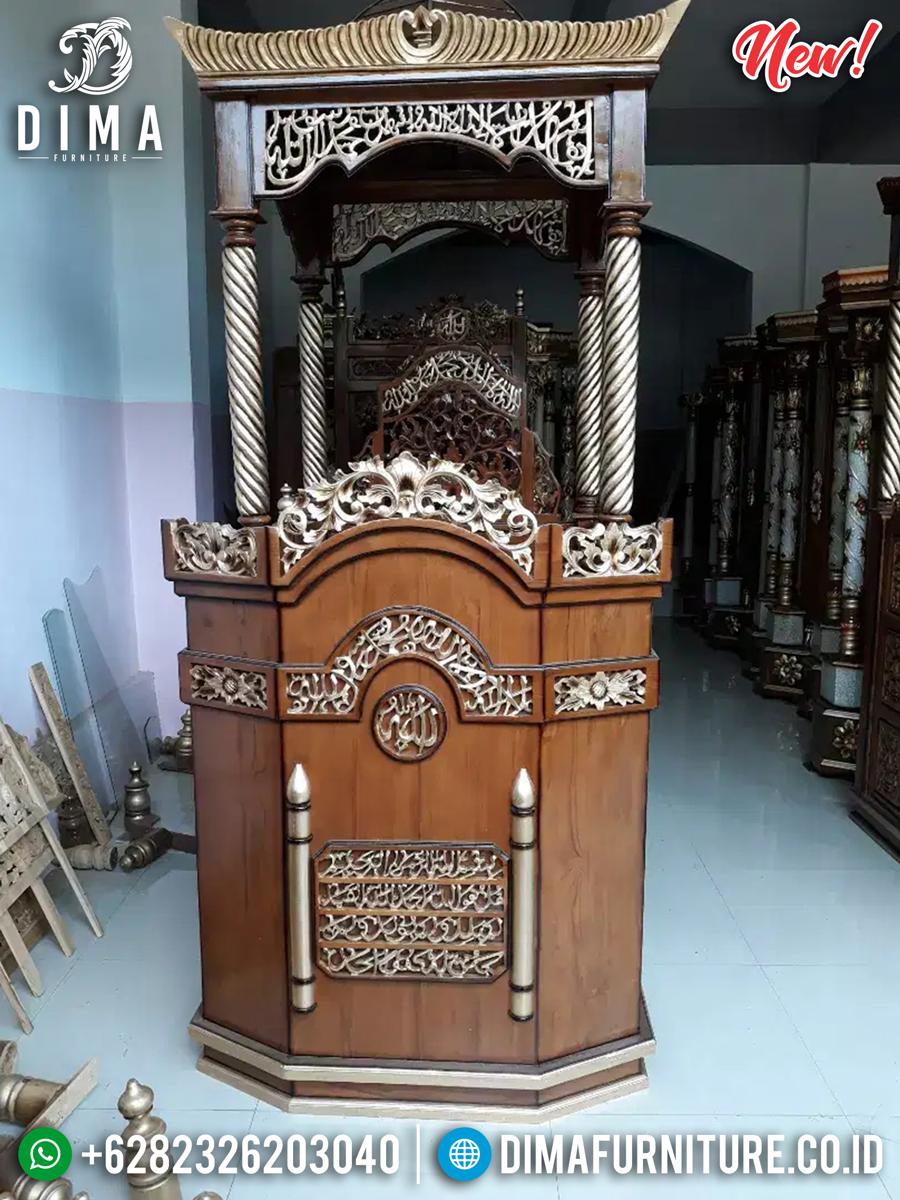 Jual Mimbar Masjid Kubah Jati Natural Harga Murah Best Seller TTJ-0866 Detail 2