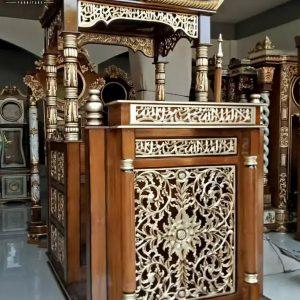 Jual Mimbar Masjid Kubah, Mimbar Podium Khotbah Natural Jati Jepara TTJ-0871