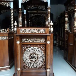Mebel Jepara Mimbar Masjid Kayu Jati Natural Perhutani Superior Great Quality TTJ-0881