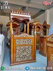 Mimbar Khotbah Ukiran, Mimbar Masjid Kayu Jati Luxury Carving TTJ-0877