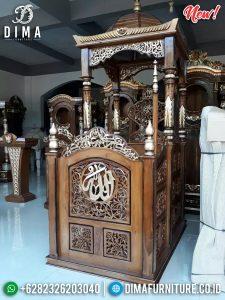 Mimbar Masjid Jepara Kayu Jati Perhutani New Desain Kubah Persian TTJ-0865