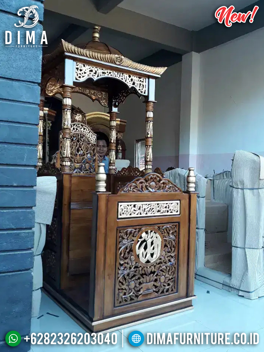 Mimbar Masjid Jepara Kayu Jati Perhutani New Desain Kubah Persian TTJ-0865 Desain 1