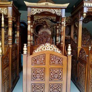Mimbar Masjid Ukir Jati Jepara Luxury Desain Inspiring TTJ-0870