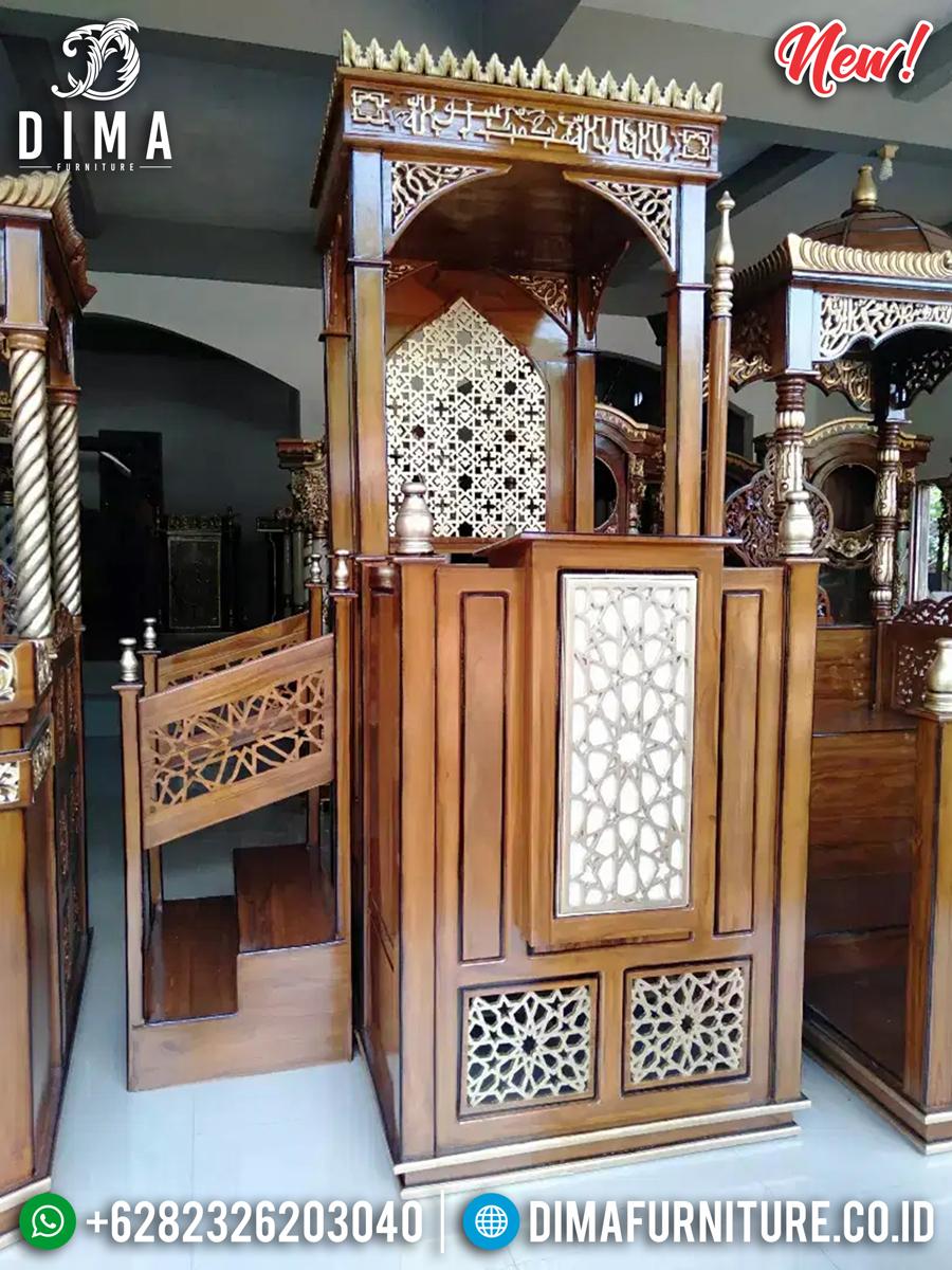 Natural Desain Mimbar Masjid Jati Kombinasi Model Terbaru Mebel Jepara TTJ-0876