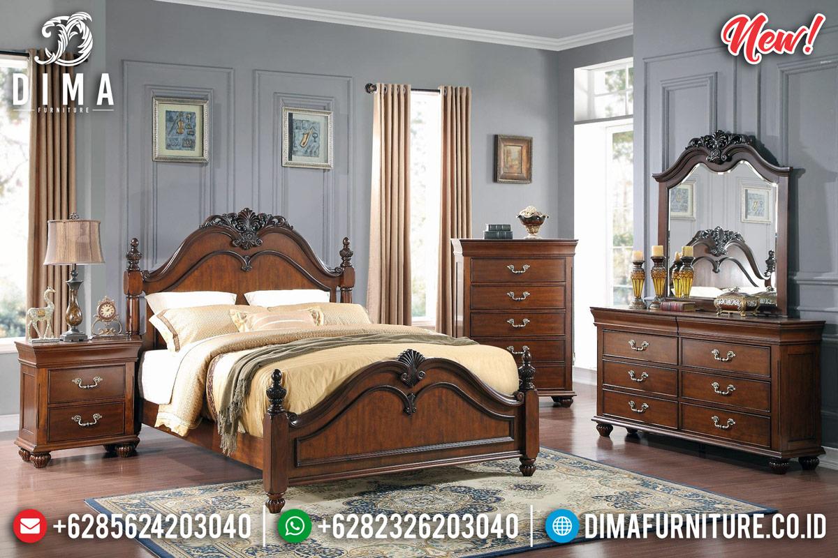 New Desain Kamar Set Minimalis Jepara Natural Salak Classy Versace TTJ-0962