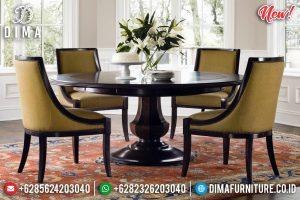 New Design Meja Makan Kayu Jati Natural Luxury Dark Brown Glossy Melamic TTJ-0952
