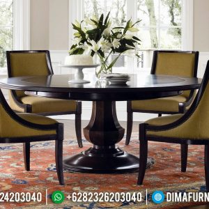 New Design Meja Makan Kayu Jati Natural Luxury Dark Brown Glossy Melamic TTJ-0952