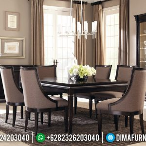 New Design Meja Makan Minimalis Jati Natural Klasik Dark Brown Mebel Jepara TTJ-0948