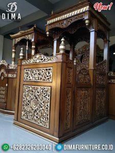 New Mimbar Masjid Ukiran Jati Motif Bunga Beautiful Desain Furniture TTJ-0875