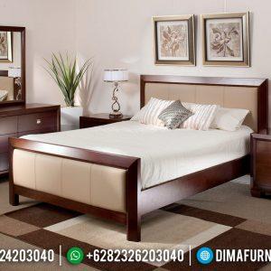New Model Kamar Set Minimalis Jati Natural Salak Brown Furniture Jepara Terlaris TTJ-0964