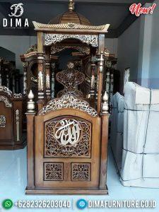 New Model Mimbar Masjid Ukiran Jati Natural Luxury Carving Mebel Jepara TTJ-0883
