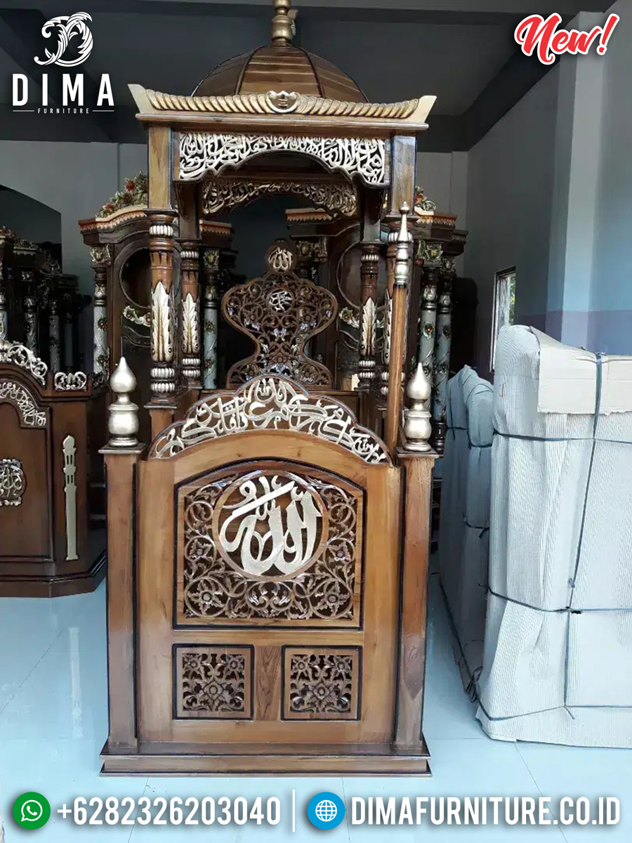 New Model Mimbar Masjid Ukiran Jati Natural Luxury Carving Mebel Jepara TTJ-0883
