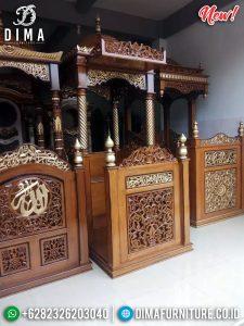New Model Mimbar Masjid Kubah Ukiran Jepara Luxury Type Natural Jati Klasik TTJ-0886