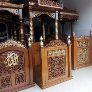 New Model Mimbar Masjid Kubah Ukiran Jepara Luxury Type Natural Jati Klasik TTJ-0886