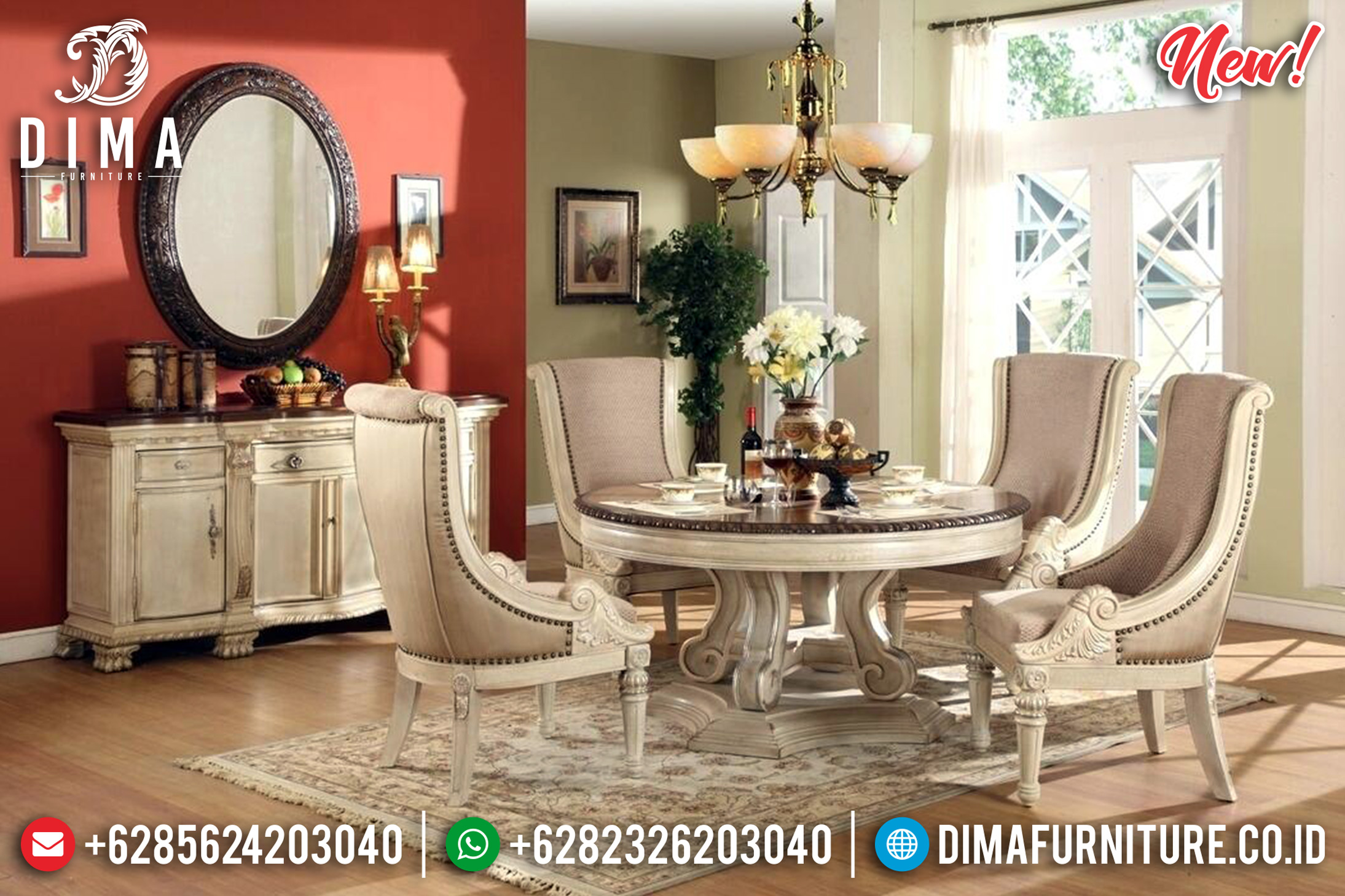 Pre Order Meja Makan Bundar Ukiran Luxury 4 Kursi Great Solid Wood TTJ-0972