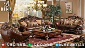 Set 3 2 1 Sofa Tamu Jati Mewah Natural Classic Beautiful Design Glamorous TTJ-0935