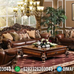 Set 3 2 1 Sofa Tamu Jati Mewah Natural Classic Beautiful Design Glamorous TTJ-0935