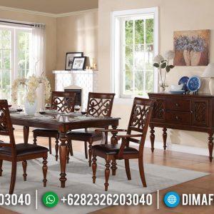 Set Meja Makan Minimalis Kursi 6 Natural Jati Luxury Rose Wood Color TTJ-0946