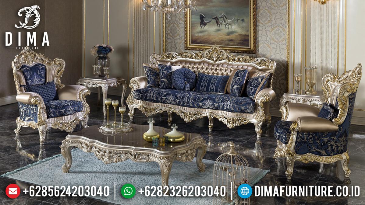 Set Sofa Tamu Mewah Silver Champagne Luxury Carving Baroque Italian Style TTJ-0930