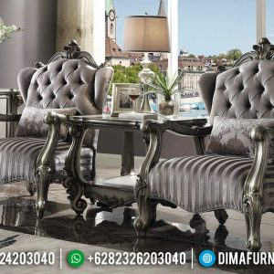 Sofa Santai Mewah Ukiran Jepara Dan Meja Coffee Table Epic Silver Glossy TTJ-0941