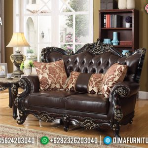 Sofa Tamu Mewah 3 Dudukan Ukiran Luxury Natural Jati Classic Jepara TTJ-0908