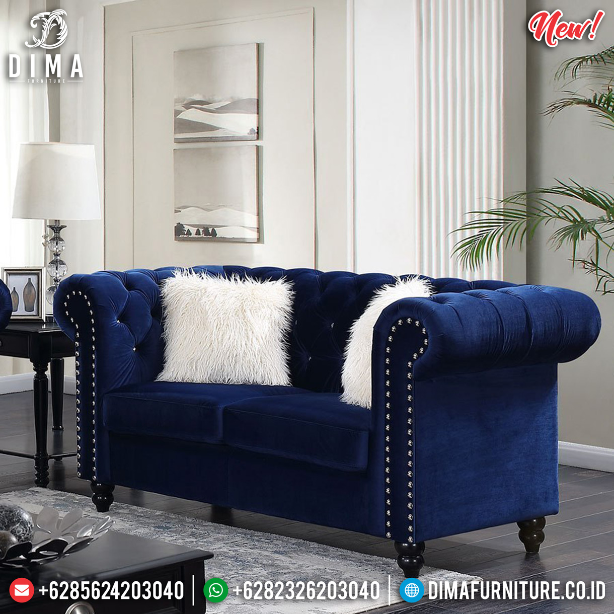 Sofa Tamu Minimalis Chesterfield Blue Navy Best Produk Furniture Jepara TTJ-0895