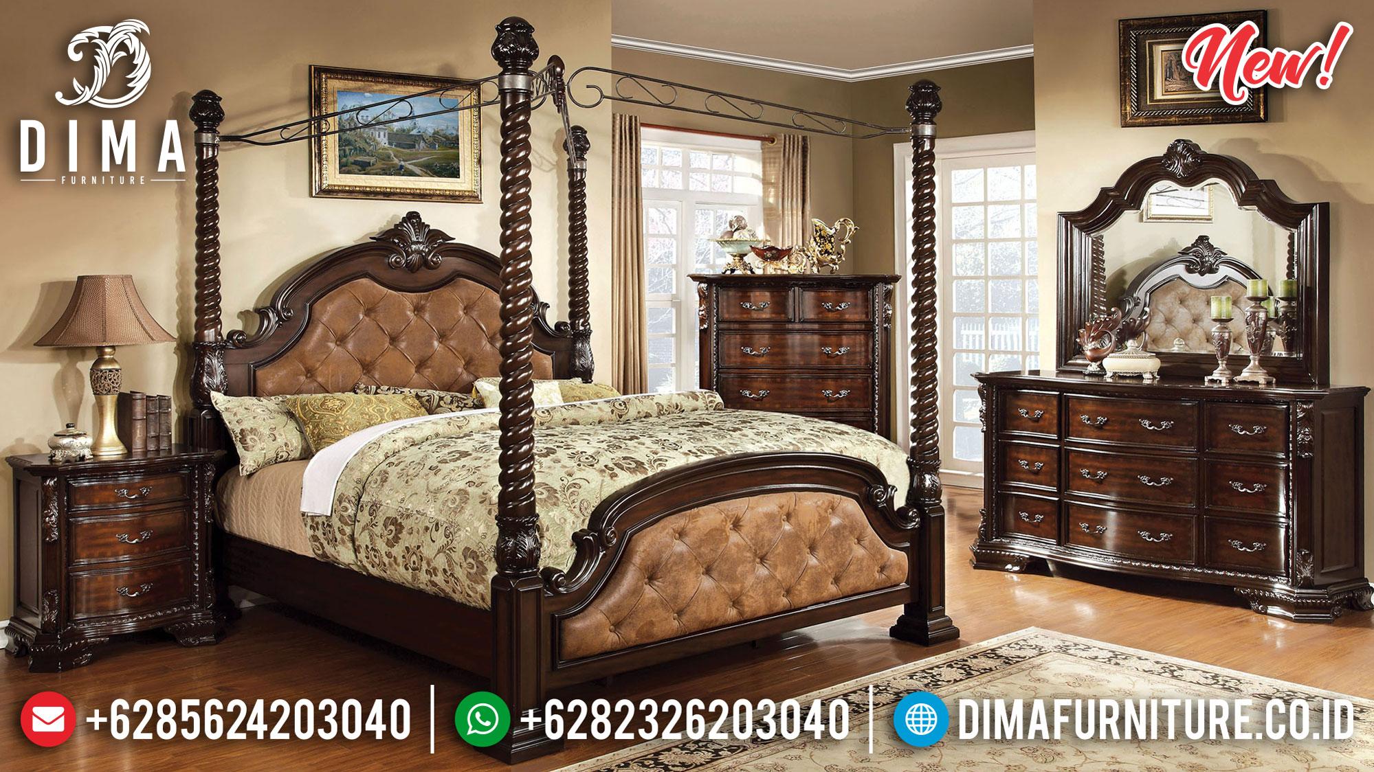 Jual Set Tempat Tidur Jepara Kanopi Prestigiousness Natural Mewah TTJ-0980