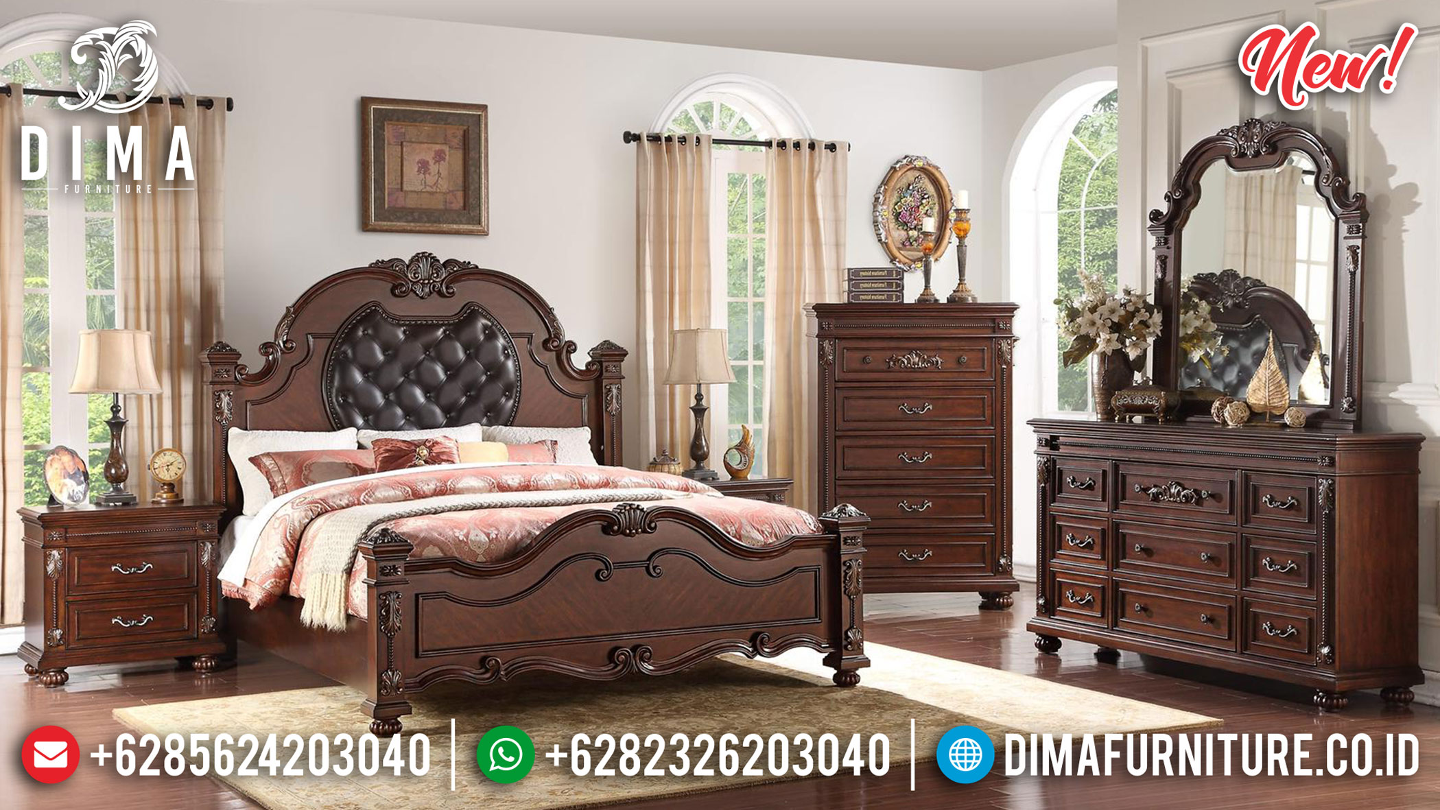 Best Grade Tempat Tidur Jati Natural Classic Luxury Carving Jepara TTJ-1001