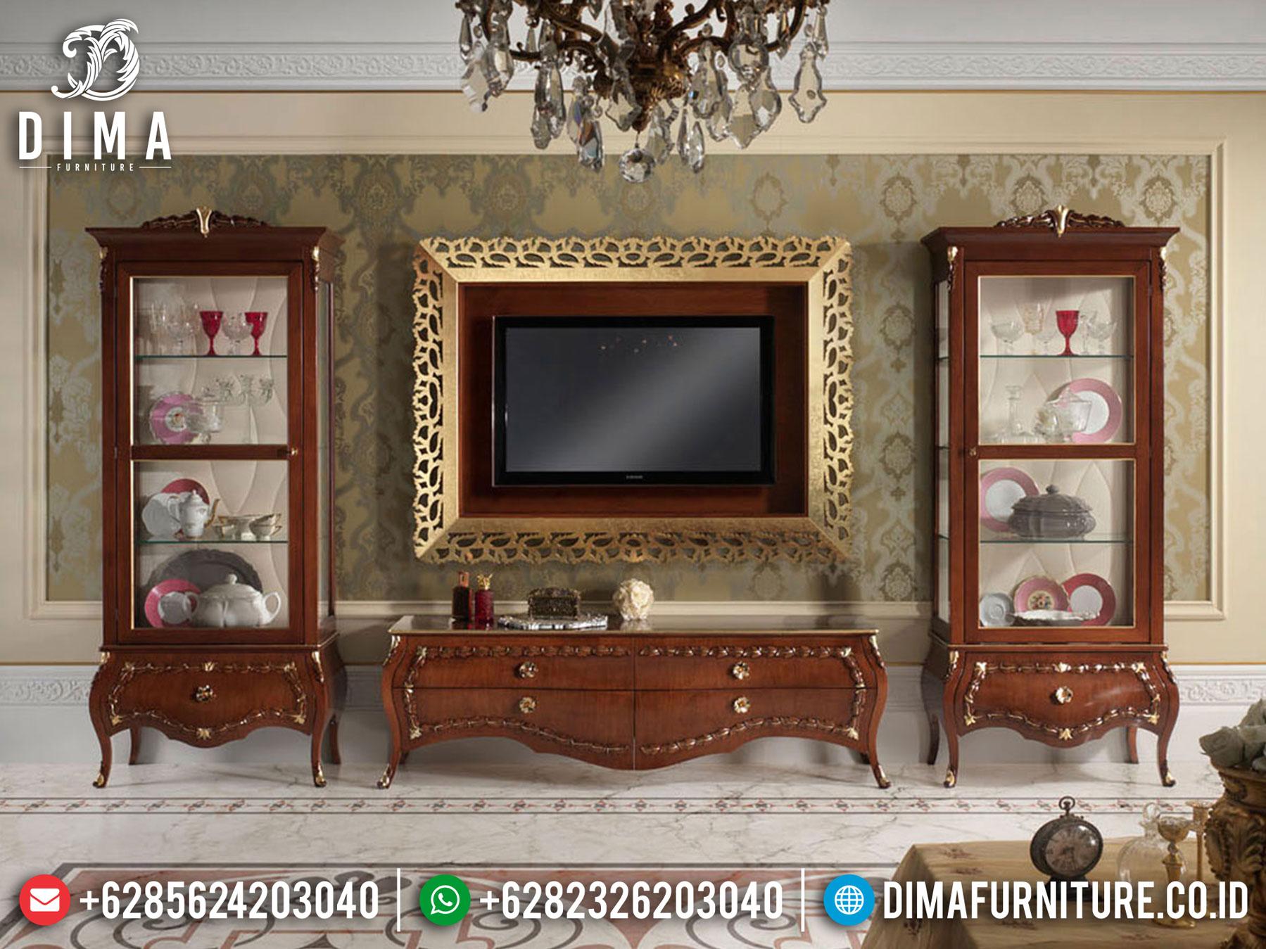 Best Sale Lemari Hias Mewah Set Meja TV Jati Natural Kombinasi TTJ-1085