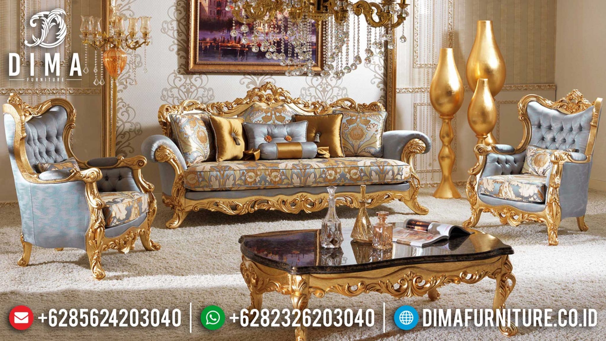 Best Seller Sofa Tamu Mewah Jepara Golden Philadelphia Version TTJ-0983