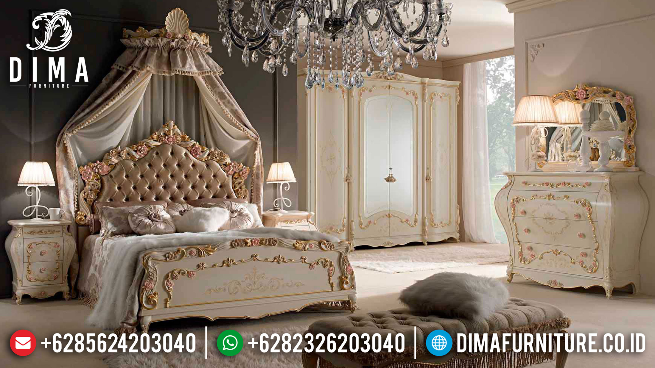 Black Friday Sale Kamar Set Mewah Crown Style Luxury Carving Jepara TTJ-1112