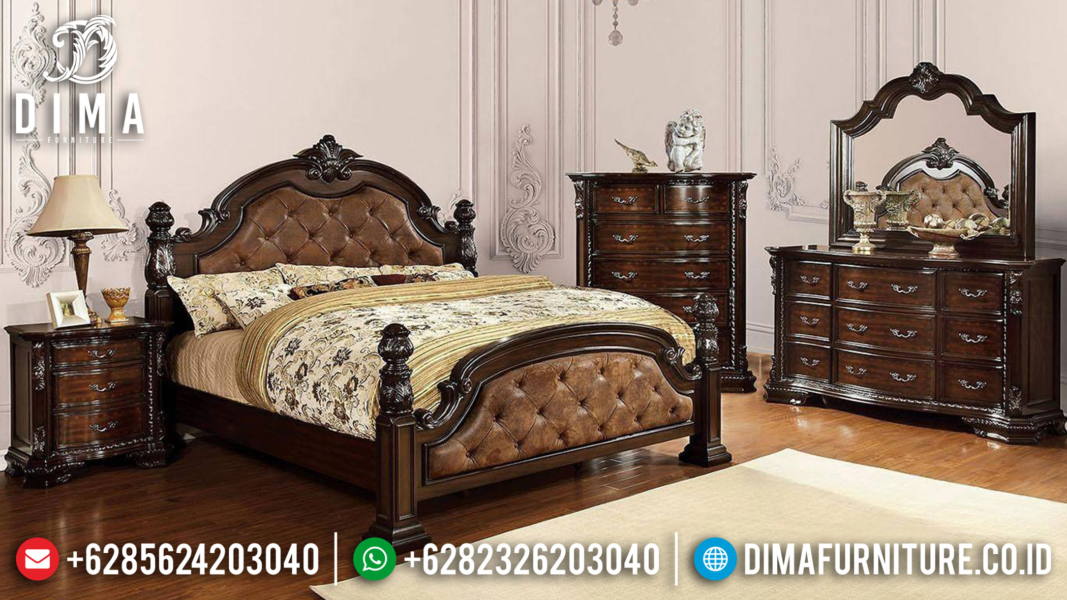 Black Friday Sale Tempat Tidur Minimalis Ukiran Classic Natural Dark Brown TTJ-1119