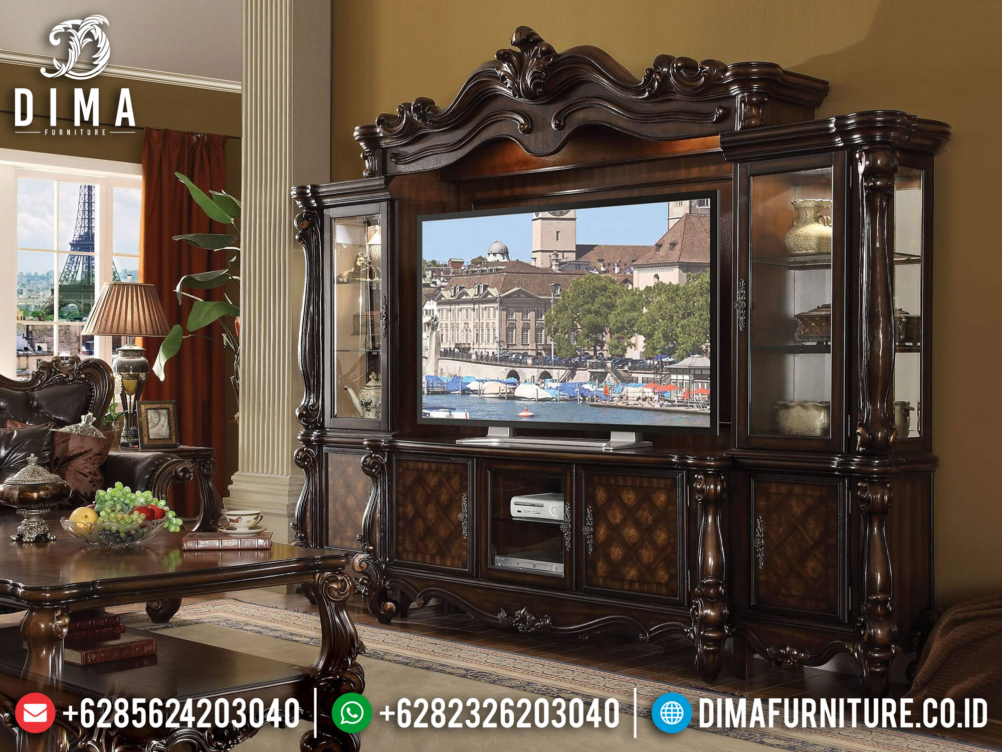 Classic Furniture Bufet TV Mewah Luxury Carving Solid Wood Greatest TTJ-1087