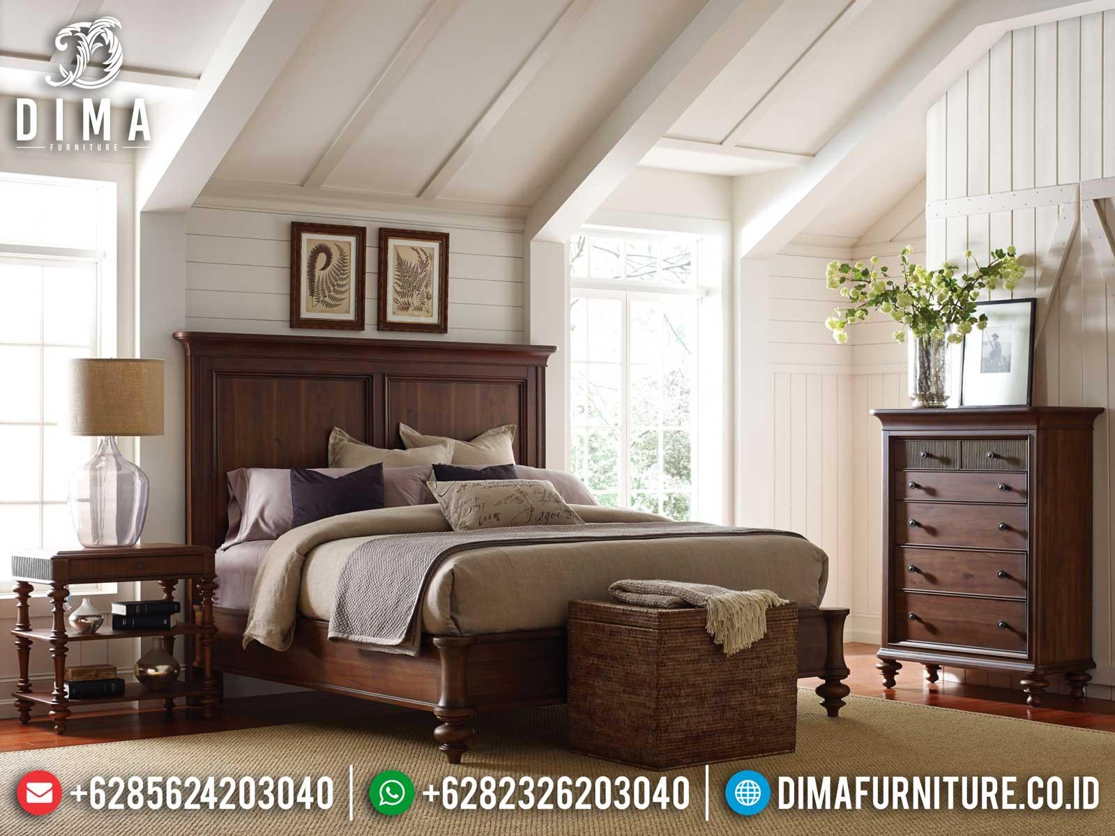 Desain Tempat Tidur Minimalis Klasik Natural Jati Best Item Furniture TTJ-1122