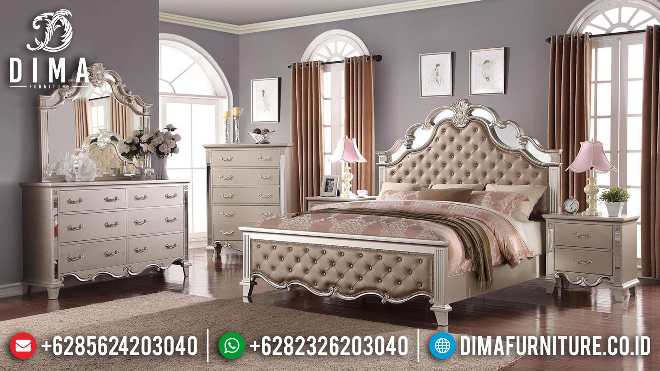 Desain Tempat Tidur Minimalis Mewah Mirrored Elegant Silver Luster TTJ-1110