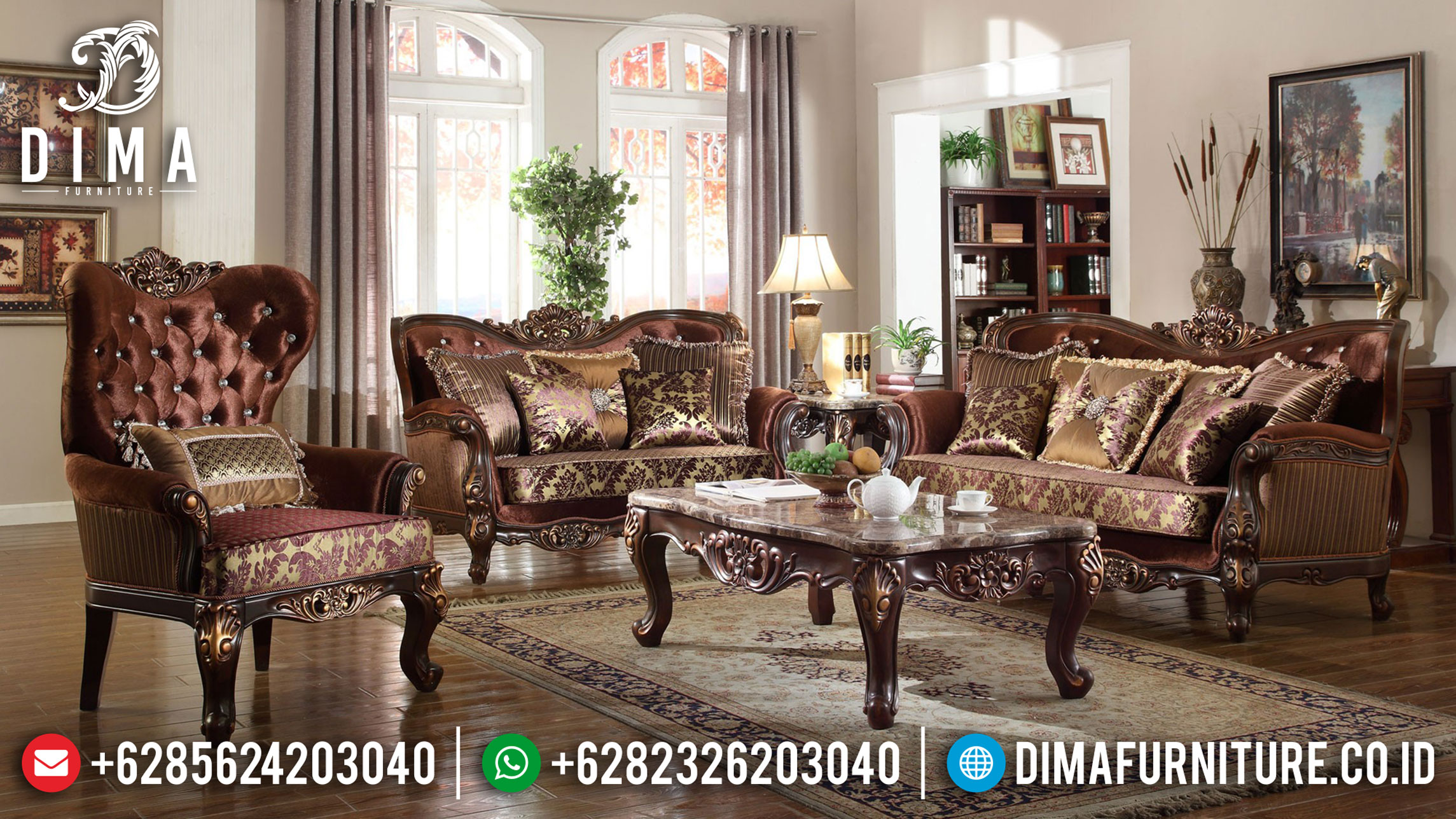 Design Elegant Sofa Tamu Jepara Luxury Classic Natural Jati Perhutani TTJ-0989