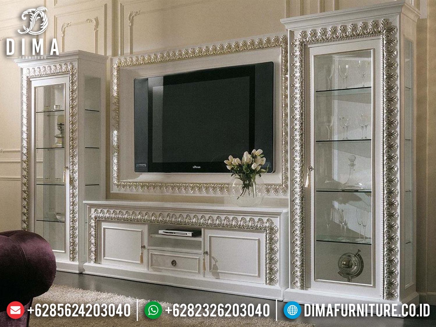 Excellent Style Bufet TV Ukiran Mewah Duco With Silver Champagne Beauty Combine TTJ-1090