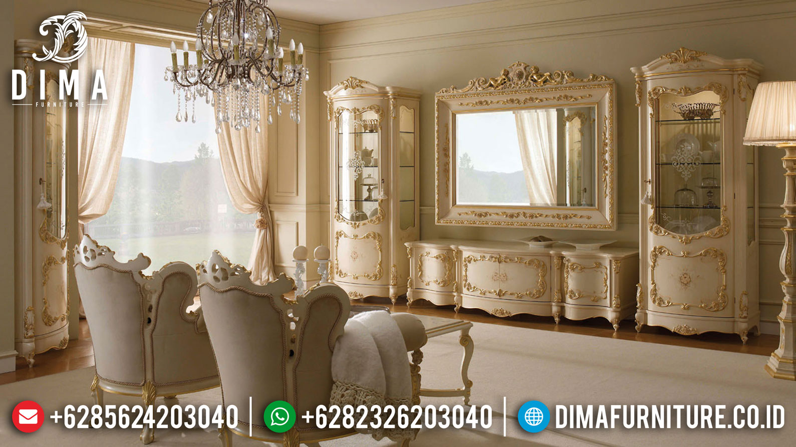 For Sale Lemari Hias Mewah Luxury Living Room Design Mebel Jepara Terbaru TTJ-1029