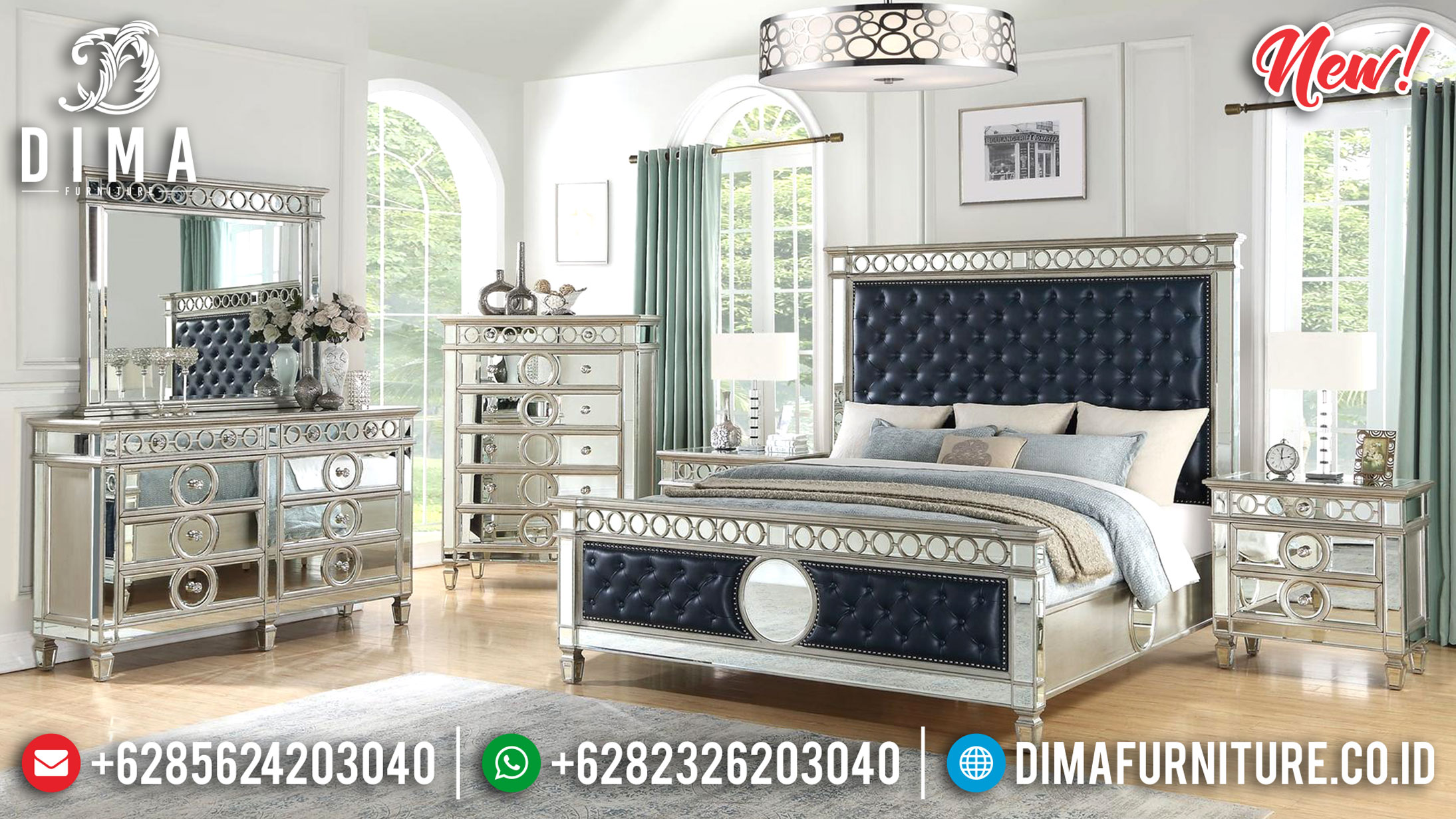 Full Glassed Kamar Set Modern Exclusive Room Design Luxury Furniture Jepara TTJ-1084