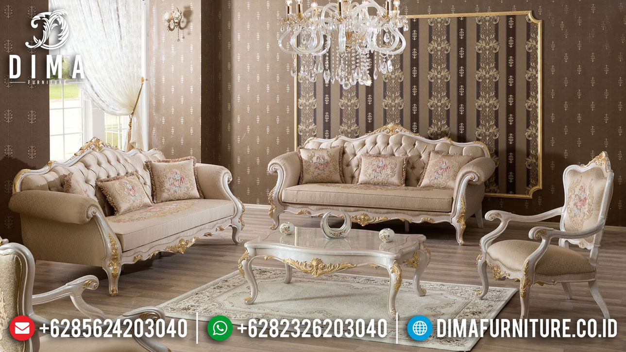 Georgeus Sofa Tamu Mewah Jepara Luxurious White Duco Glossy TTJ-1066