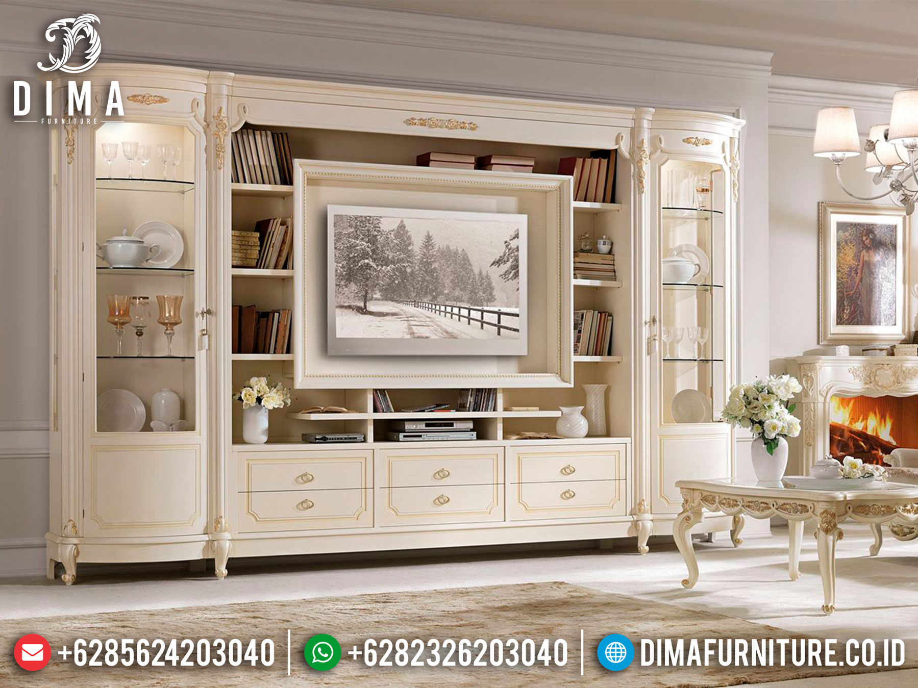 Great Furniture Bufet TV Jepara Luxury Carving Living Room Design Imperial TTJ-1035