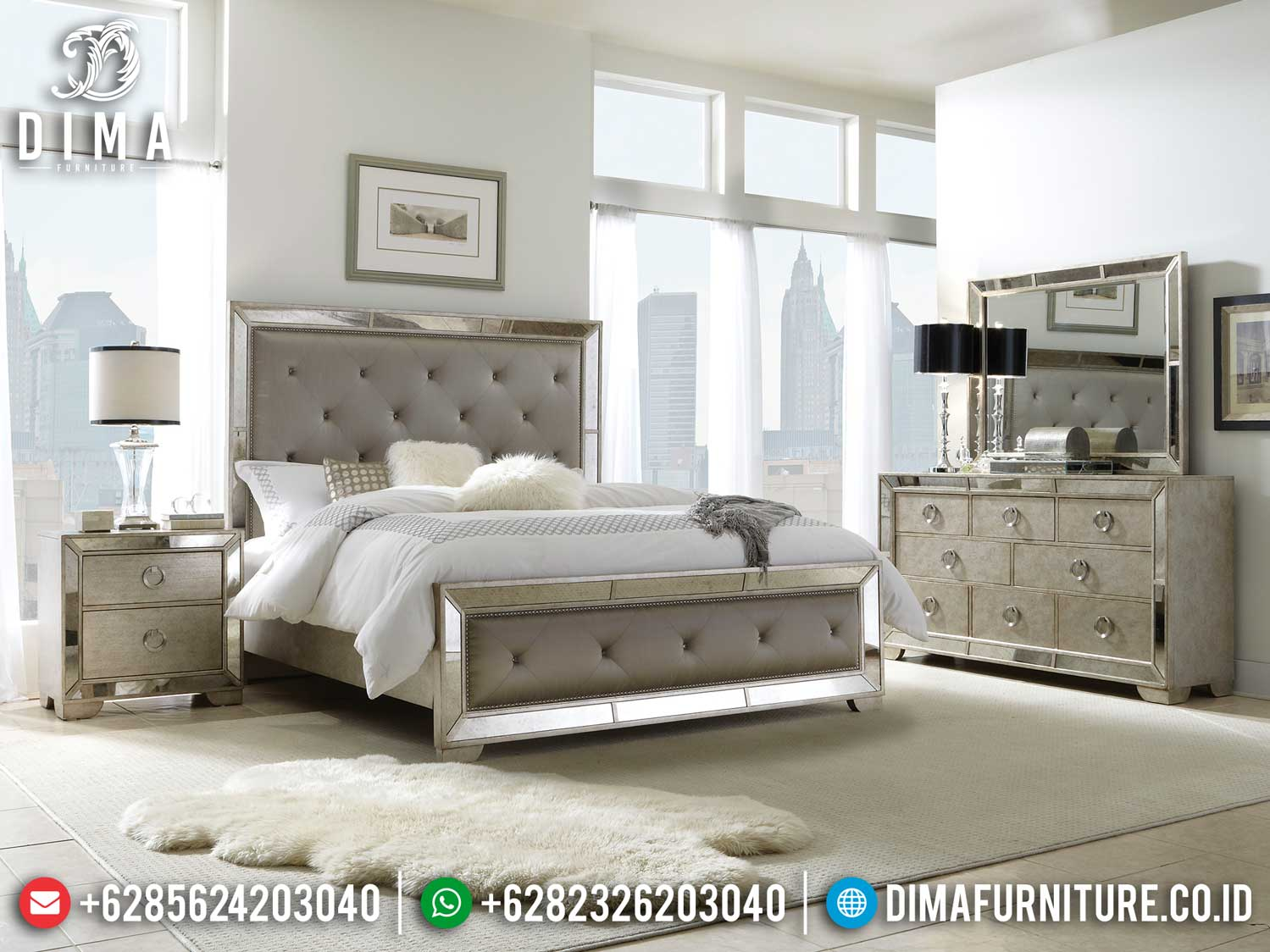 Great Item Tempat Tidur Minimalis Modern Mirrored Design Elegant Luxury TTJ-1124